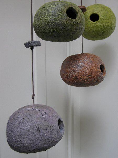 Stan Bitters, ceramic birdhouses volcanic glazes.