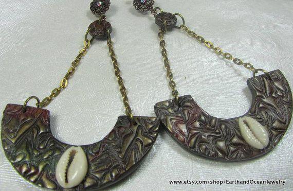 Cowrie Shell Dangle Earrings by EarthandOceanJewelry on Etsy, $12.00