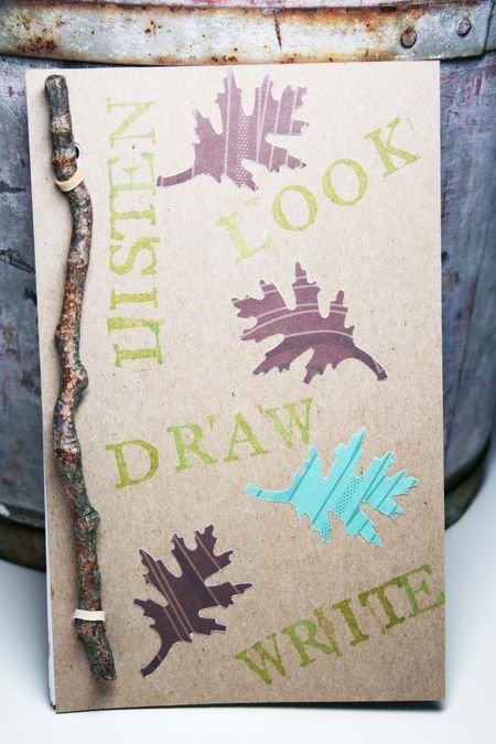 Nature journal. Easy to make with a child but I'd score the cover to the right of the twig so opening would be easier.