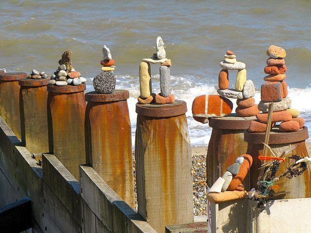 Pebble sculpture Southwold beach