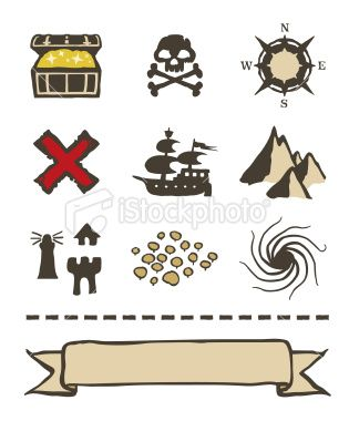 Treasure Map Icons and Elements - Stock Illustration - iStock