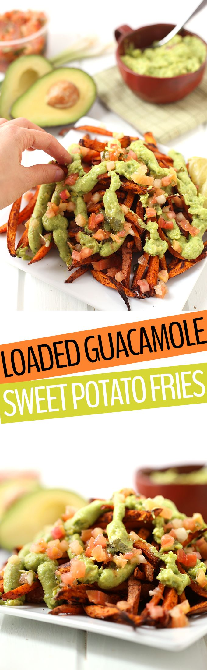 Change it up next game day with these Loaded Guacamole Sweet Potato Fries. Mexican meets healthy in this vibrant and delicious game day or appetizer recipe! You'll never go back to regular ole' sweet potato fries...