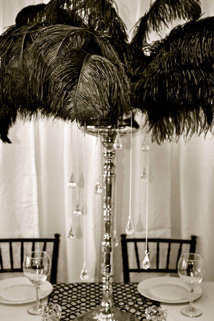 Black Feather Centerpiece by My Dream Fiesta