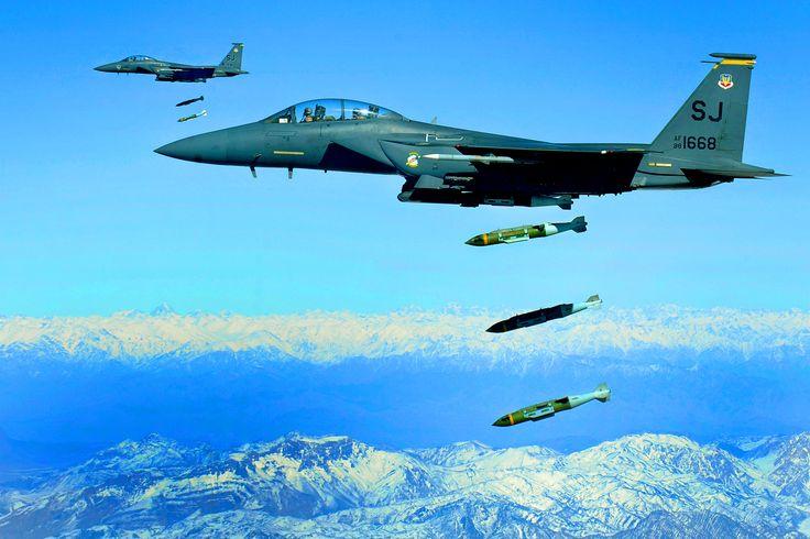 2000lb GBU-31s ripple drop in Afghanistan by two F-15Es