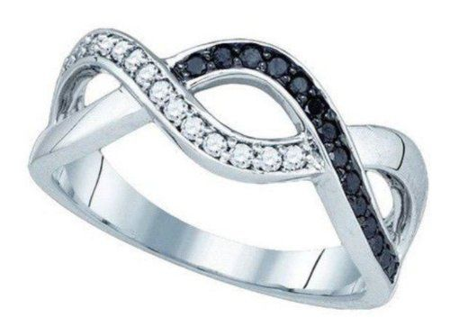 0.26 cttw 10k White Gold Black Diamond Infinity Twist Wedding Band Anniversary Ring (Real Diamonds: 1/4 cttw, Ring Size: 9.75) *** FREE SIZING *** | The National average for ring sizing is $50 per ring | Your purchase includes FREE Professional, Accurate Ring Sizing by Pricegems. Black diamonds are treated to permanently improve color | Pricegems diamonds are real and natural and are deemed Ethica... #BeverlyHillsDiamonds #Jewelry