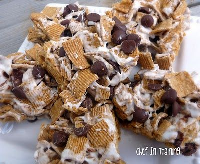 Marshmellow Smores treats! Fast, Easy, and scrumptious!: Chocolates Chips, Smore Krispie, Recipe, Golden Graham Treats, S More Krispie, Krispie Treats, Golden Grahams, Smore Treats, Rice Krispie