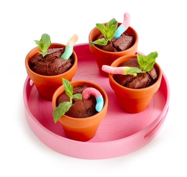 Haal bij het tuincentrum de kleinste maat aardewerken potjes en vul ze met een kant-en-klare chocolademuffin. Je kunt ook zelf chocoladecakejes bakken, zie hiervoor bijvoorbeeld het recept 'Chocoladecake' op Boodschappen.nl (dit recept is voldoende voor 8 porties). Steek er een snoepwormpje en een muntblaadje in.