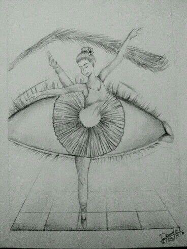 Ballerina im Auge ... Zeichnung ... Dinge, die in einander übergehen