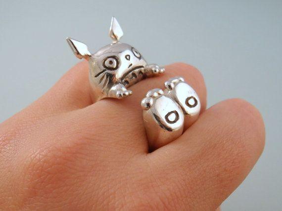 """Große 925 Silber Ring inspiriert durch das Zeichen Totoro des Animationsfilms """"My Neighbor Totoro"""" von Hayao Miyazaky"""