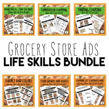 Recycle your weekly circular store ads with this cut & paste BUNDLE of 11 worksheets! This BUNDLE includes: -Grocery Store Ad Food Groups (1 page) -Grocery Store Ad Aisles (2 pages) -Grocery Store Ad Prices (1 page) -Store Ad Shapes & Colors (2 pages) -Shopping List Money Math (2 pages) -Shopping List Scavenger