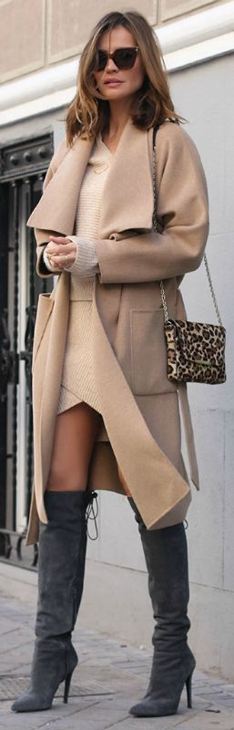 Grey will go well with almost any other colour. Silvia Zamora matches grey over the knee boots with an otherwise camel outfit consisting of a wrap coat, knitted sweater, and skirt. Coat: Zara, Sweater/Skirt: Pinko, Boots: Más34, Sunglasses: Fendi, Bag: Purification Garcia.