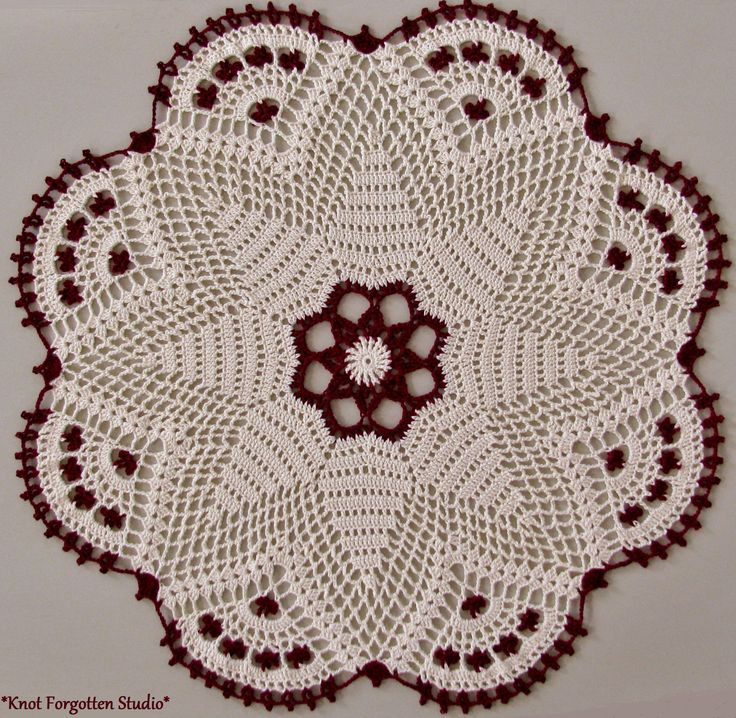 ~Splendid Anemone~ Finished, January, 2015. I used Aunt Lydia's size 10 thread. The colors are Burgundy and Cream. The pattern is from Magic Crochet issue 67, August, 1990.