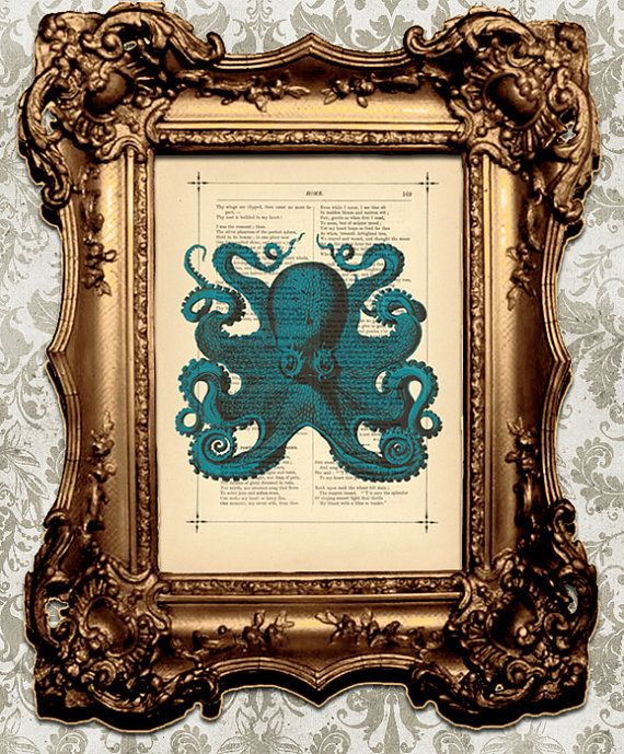 Nautical Home Decor Vintage Dark Blue Octopus by BiloxiHousewife, $10.00