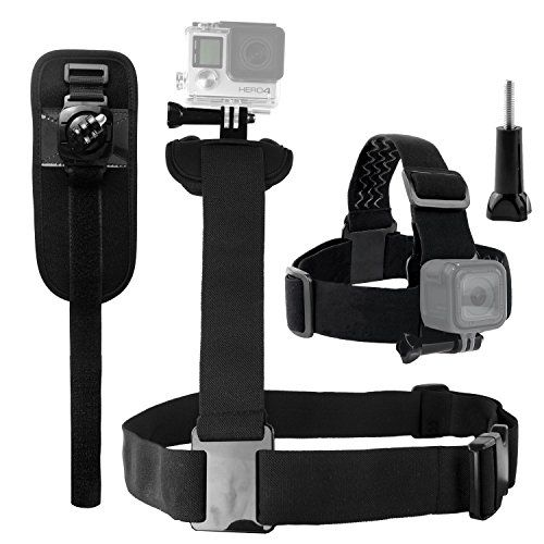 CamKix Body Mount Bundle for Gopro Hero 5 Black Session Hero 4 Session Black Silver Hero LCD 3 3 2 1  Shoulder Harness Mount / Head Strap Mount / Rotating Wrist Mount / Thumbscrew / Storage Bag