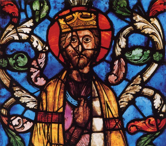 This stain glass window is one of the most famous romanesque images of jesus it shows jesus in the garden of getseminy.