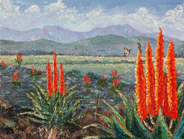 Route 62 Aloes. Acrylics on stretched canvas. 460X610mm. R1400. SOLD!