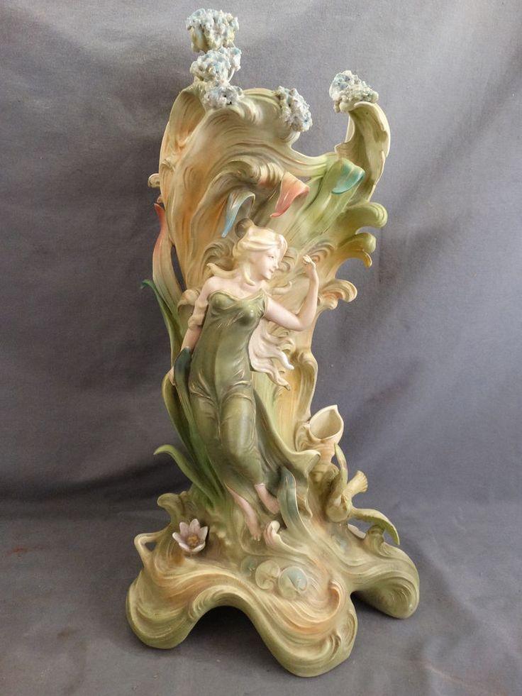 Antique German Art Nouveau Saxony Porcelain Bisque Figural Lady Polychrome Vase In 2019