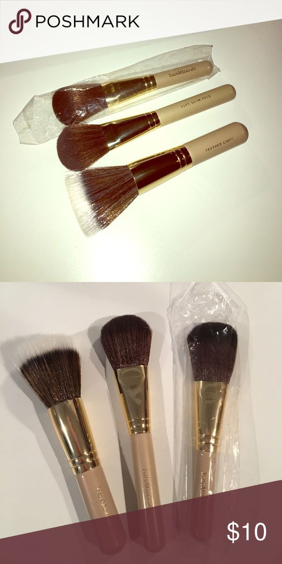 "Bare minerals brush bundle! Brand new never used! Tan handles with gold accents. One ""feather light"" brush and 2 ""soft sweep cheek"" brushes. bareMinerals Makeup Brushes & Tools"