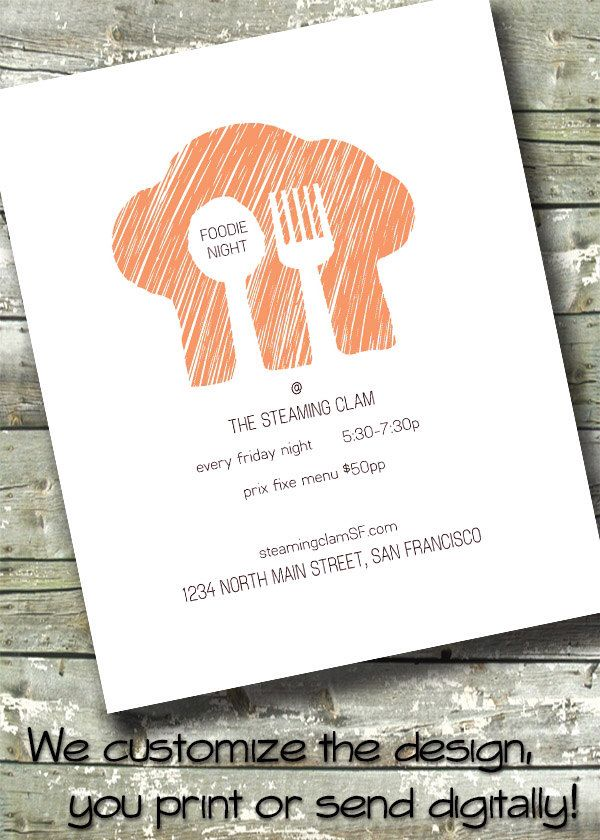 business event invitation templates%0A Restaurant Cooking Class Flyer   Foodie Party   Business Event    x  Invite       x