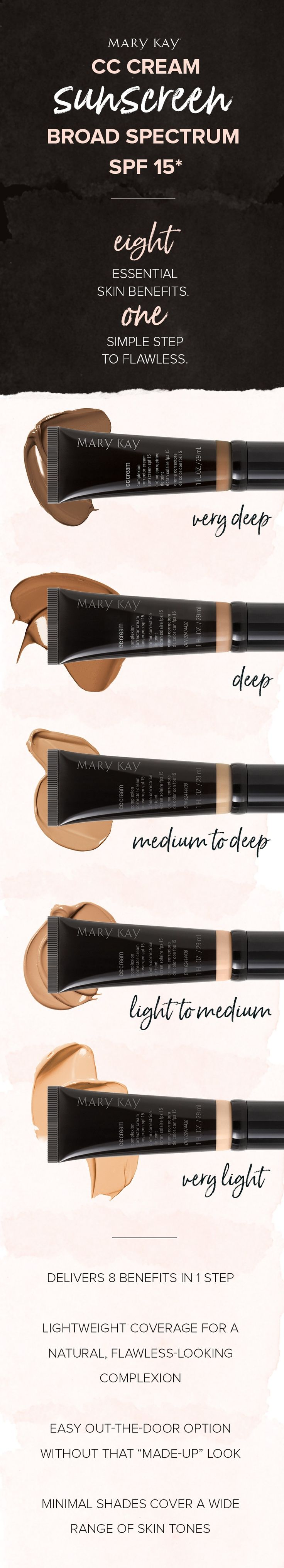 With a formula that acts like makeup and is formulated like skin care. Mary Kay's CC Cream Sunscreen Broad Spectrum SPF 15* makes complexion correction easy! | Mary Kay