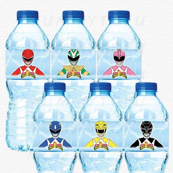 Power Rangers Birthday Party Water Bottle Labels  Red by mummytofu                                                                                                                                                     More