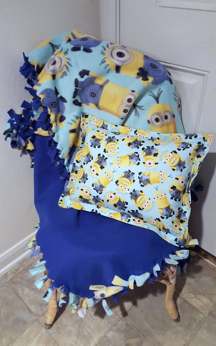 Minions Pillow and Matching Hand Tied Fleece Throw, Minions Nap Pillow, Travel Pillow, Minions, Despicable Me, Knotted Blanket, Child by HeadBandsByGiGi on Etsy