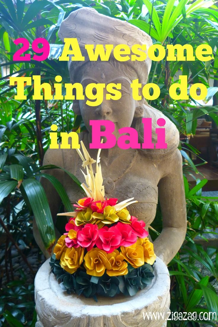 I LOVE Bali! There are all sorts of things to do from luxuriating in beautiful hotels and villas to getting out and about to see the countryside far from the madding crowd. Here are 29 Awesome things to do in Bali :)