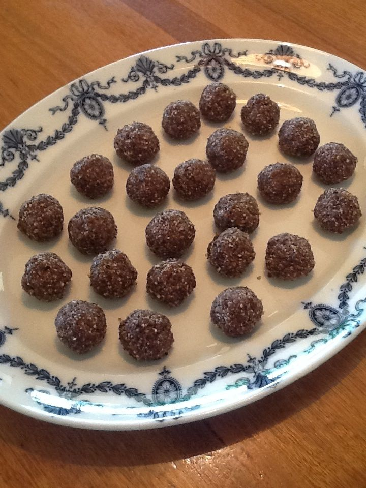 Goodie Balls - mejool dates, cashew meal, pepita seeds, sunflower seeds, chia seeds, cacao nips, desiccated coconut, raw cacao powder + coconut oil
