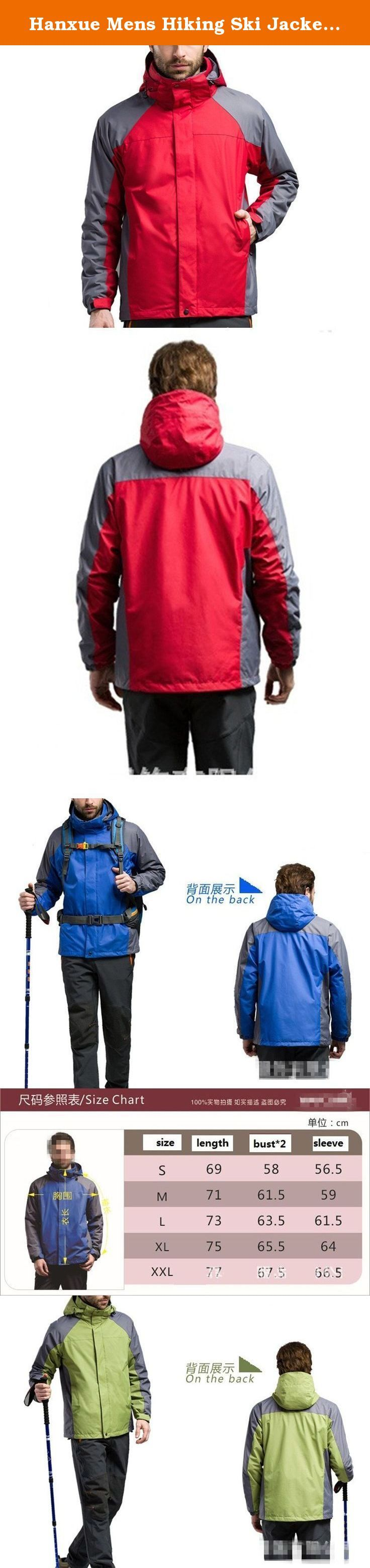 Hanxue Mens Hiking Ski Jacket Softshell 3 in 1 Hiking Raincoat Plus Size Men Waterproof Sportswear with Removable Liner (002 Red, S). A great jacket for hiking¡¢skii or other outside sports With various pockets and an removeable liner, this jacket is as useful as it is stylish. Water-resistant, windproof and lightly insulated with a fleece lining, it's designed to keep you warm and dry from the rain snow making this a great outdoor jacket for Outdoor enthusiasts.