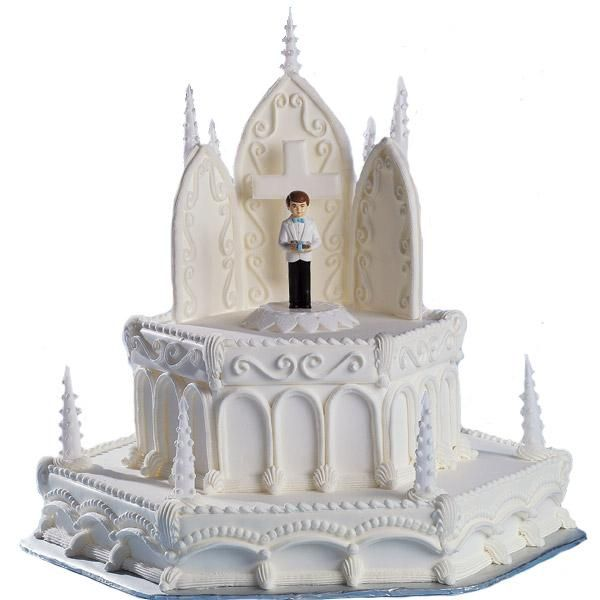 An Inspirational Day Cake - Scrolled Color Flow arches and magnificent hexagonal tiers portray the grandeur of the moment for your Communion Boy.