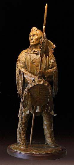 "Sculptor and Artist Barry Eisenach's ""Blackfoot Sentinel,"" Native American Bronze Sculpture of Blackfoot Tribesman in Traditional War Regalia. ($14,000)"
