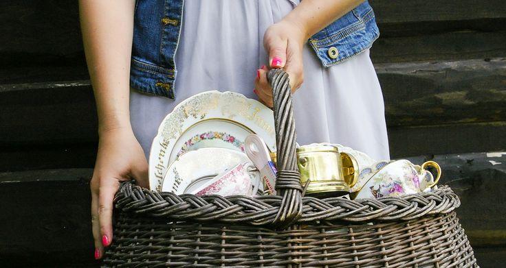 старинная корзина в стиле рустик старинная посуда винтаж