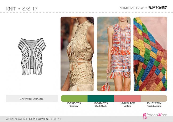 See the new forecasting fashion trends about Bourgeoise, Flamboyant, Impression, Survivalist SS17 | Womenswear| Development | Knit, Fashion & Product development ai CAD with 5forecastore.