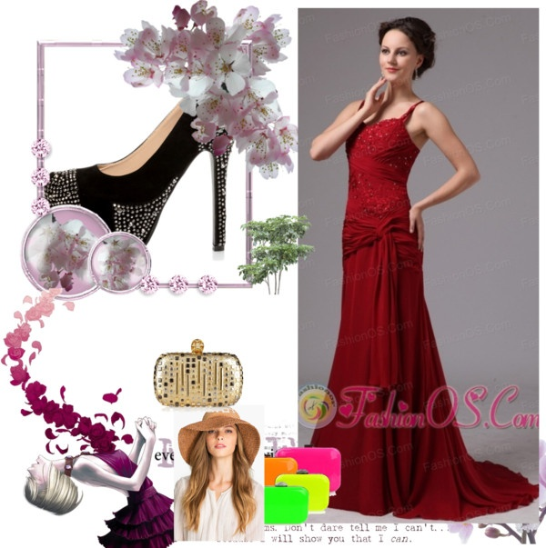 """""""Wine Red Spaghetti Straps Mother Of The Bride Dress With Appliques and Beading Brush Train For Custom Made In Cleveland Georgia"""" by forthebridesmaidandmother ❤ liked on Polyvore"""