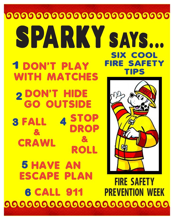Fire safety tips for kids sparky has great advice kid for Fire prevention tips for home