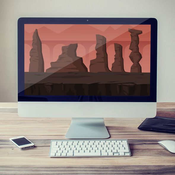 Bridge to volcano game background for game developers
