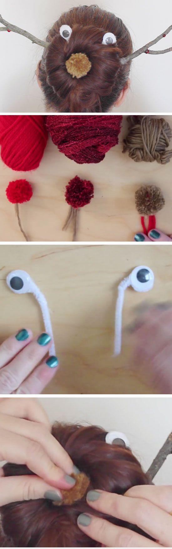 Reindeer Sock Bun | 17 DIY Holiday Hairstyles for Medium Hair