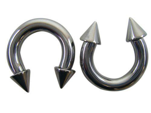 Spiked Silver Horseshoe Earrings 4 Gauge Fashion Ear Plugs Ea 12 00 Jewelry Novelty In 2018 Pinterest And
