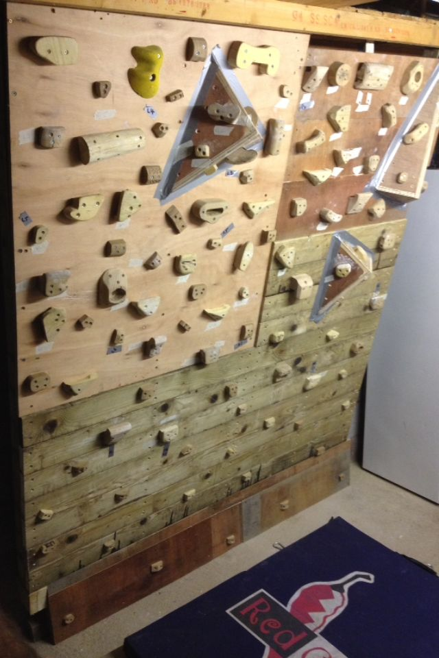 My homemade bouldering wall in my garage