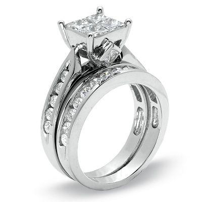 2 CTW. Quad Princess Cut Diamond Bridal Set in 14K White Gold - Zales