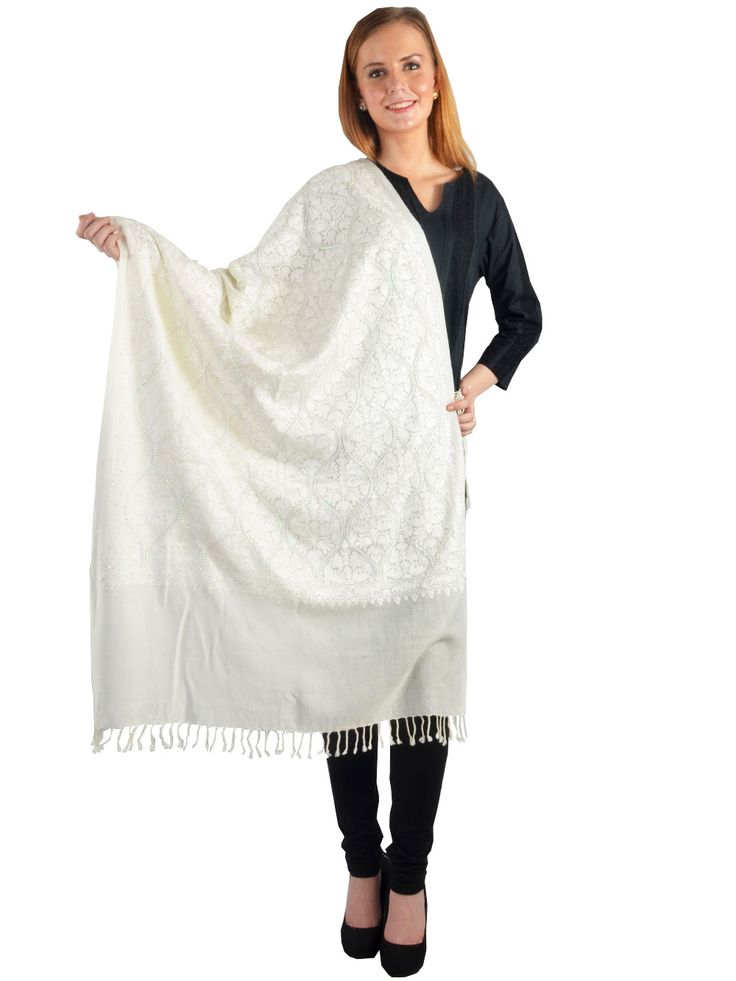 #Shop This #Beautiful #White #Shawl for This #Winter at  http://bit.ly/1ruaUwh