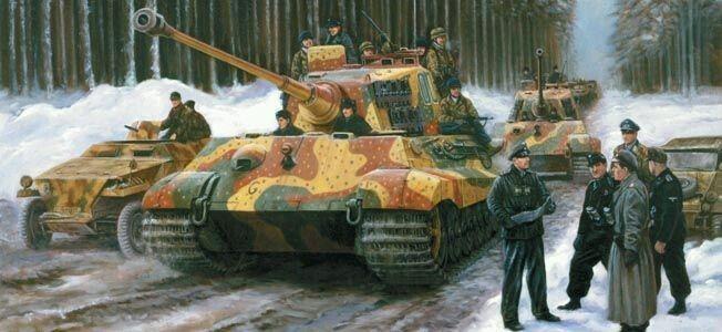 Ardennenoffensive, December 1944. Obersturmbannführer Jochen Peiper im Gespräch mit seinen Kommandeuren. Im Hintergrund einen Panzerkampfwagen VI Tiger II Königstiger. Kampfgruppe Peiper.