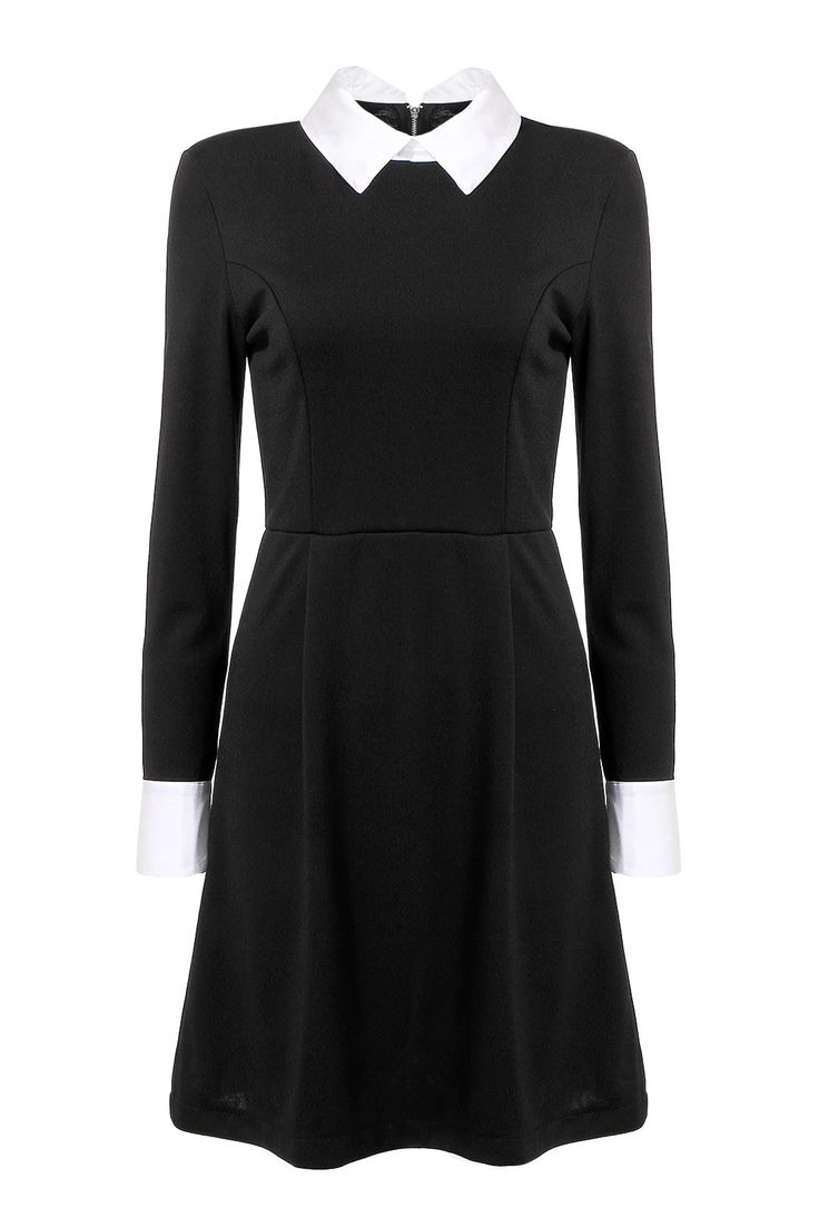 Black dress costume ideas - Dress With Stand Collar