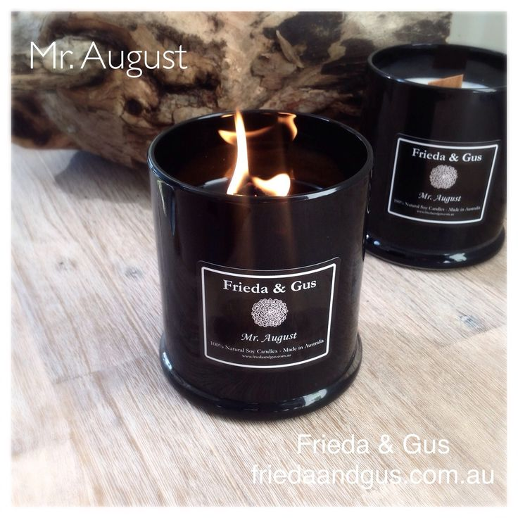 Mr August MALE Scent Elegant BLACK Wood Wick XLARGE 70hr Soy Candle - Frieda & Gus Soy Candles