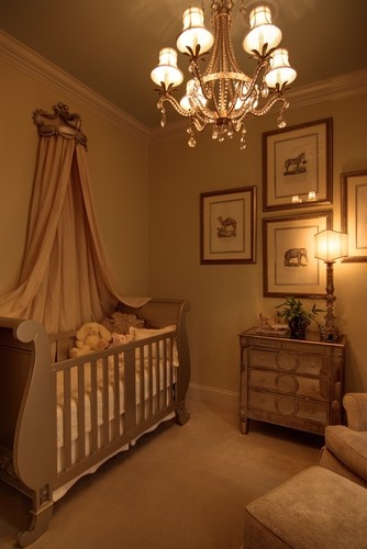 Elegant Babies Nursery with Mirrored Furniture and Sleigh Bed Crib (would lose