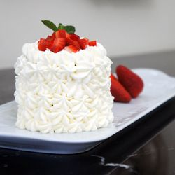 Mexican tres leches cake, with strawberries and chantilly cream!