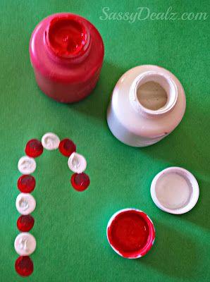 fingerprint candy cane christmas craft