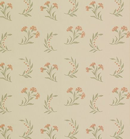 Gilly Flower Terracotta | Small Scale | Wallpapers | Robert Kime Ltd. | Antiques | Fabrics | Wallpapers | Furniture | Lighting | Carpets | Accessories |