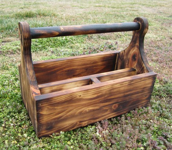 Wood Tool Box - Country Decor - Rustic Lodge - Wooden Tote - Father Day - Garden Caddy