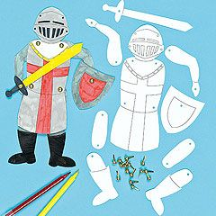 Pre-printed and pre-cut card body shapes with jointed arms and legs. Colour with our acrylic paint or Deco pens to create a moving knight.